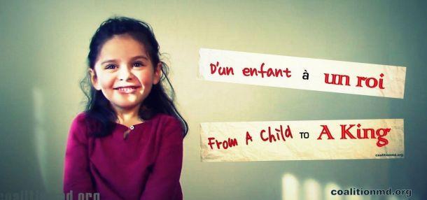 Jessica Saba, de 4 anos, num pedido ao rei da Bélgica (Foto: Coalition of Physicians for Social Justice / Divulgação)
