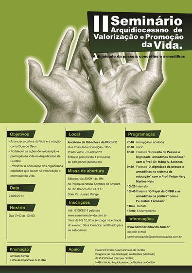 2ª edição do Seminário da Vida ocorre na PUCPR em setembro