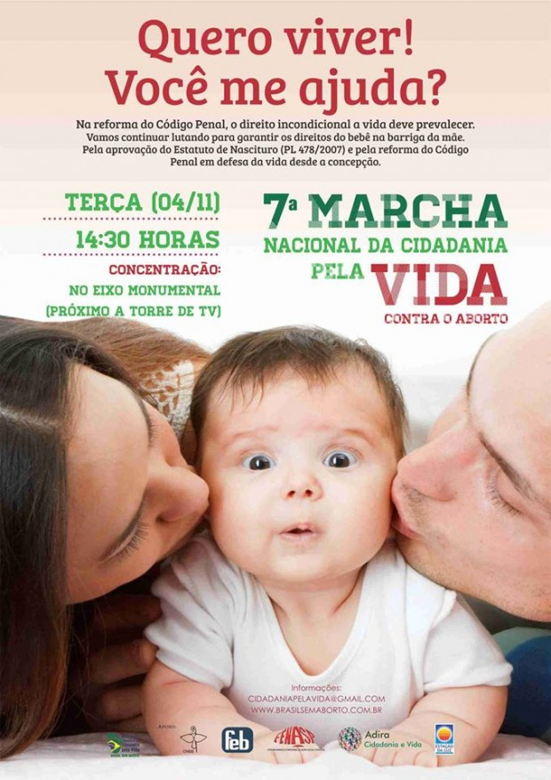 7ª Marcha pela Vida ocorre nesta terça, em Brasília