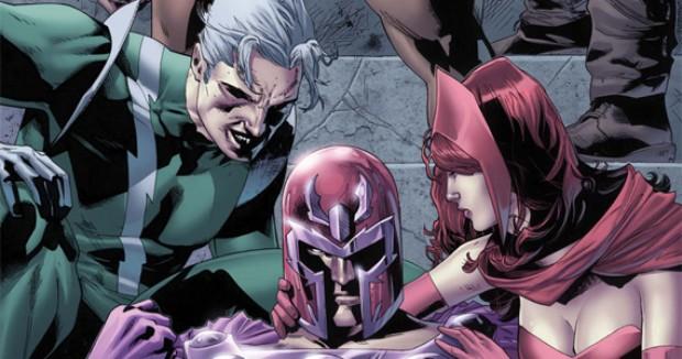 Magneto caído ao lado dos filhos, Mercúrio e Feiticeira Escarlate. (Foto: Divulgação/Marvel.com)