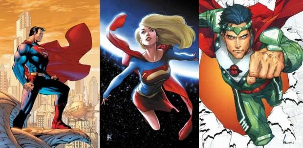 Superman, Supergirl e Jor-El (imagem: Wikimedia e DC Comics)