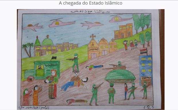 Desenhos feito por crianças iraquianas sobre a invasão do Estado Islâmico.