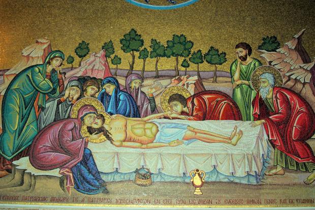 Arte exposta em parede dentro dentro da igreja do Santo Sepulcro, em Jerusalém.  (foto: Bigstock)