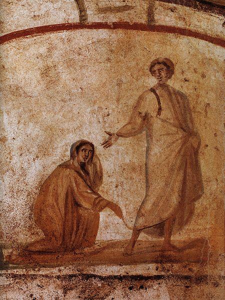 A cena da cura da hemorroíssa é uma das mais retratadas na arte paleocristã. Aqui, nas Catacumbas de Marcelino e Pedro, em Roma, séc. IV.