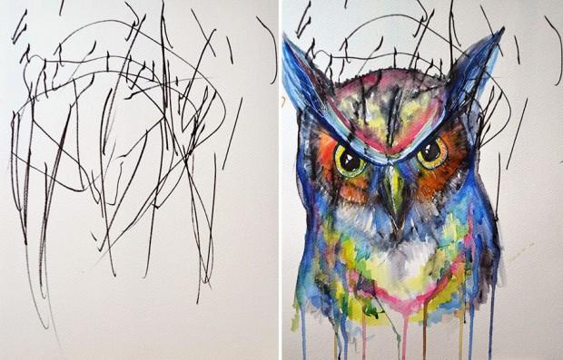 Mãe cria pinturas expressionistas a partir dos rabiscos da filha de 2 anos