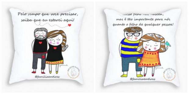 Almofadas ilustram o sentimento de casais que passaram pela perda gestacional