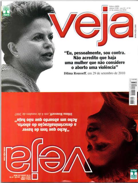 Capa da revista Veja após a repercussão causa pelas contradições da então candidata Dilma Rousseff a respeito de sua posição sobre o aborto.
