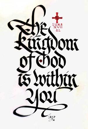 Arte caligráfica de Palladino. Foto: Catholic Sentinel.