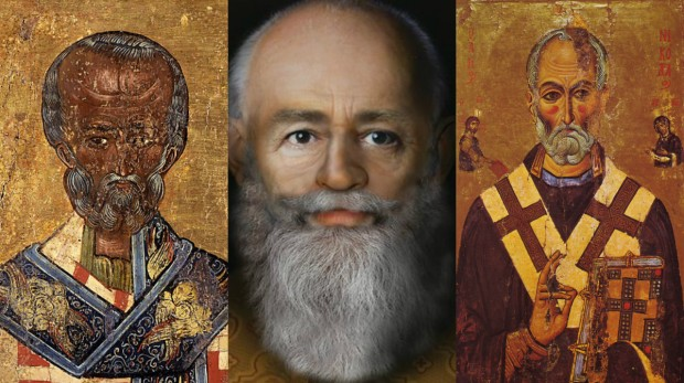 O rosto reconstituído, ao lado de dois ícones do santo, um do século XVII (à esquerda) e outro do século XIII (à direita).