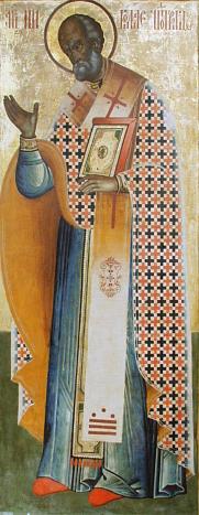 Ícone de São Nicolau, exposto em mosteiro ortodoxo, na Rússia.