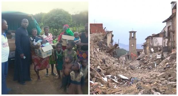 O padre Ngamouna em Kingoué, no Congo, e a cidade italiana de Amatrice, devastada. Fotos: Amici Senza Confini Onlus e La Repubblica.
