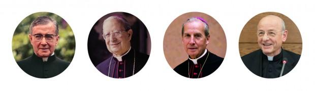 A linha sucessória no Opus Dei: o fundador Josemaria Escrivá, Álvaro del Portillo, Javier Echevarría e Fernando Ocáriz.