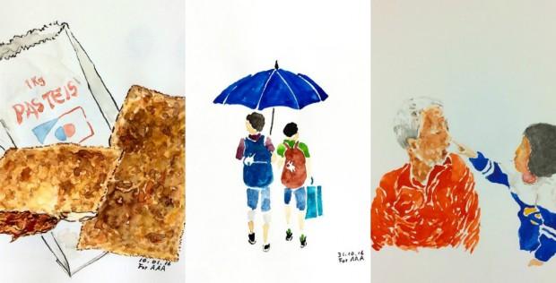 Avô mantém contato com netos no exterior postando suas ilustrações no Instagram