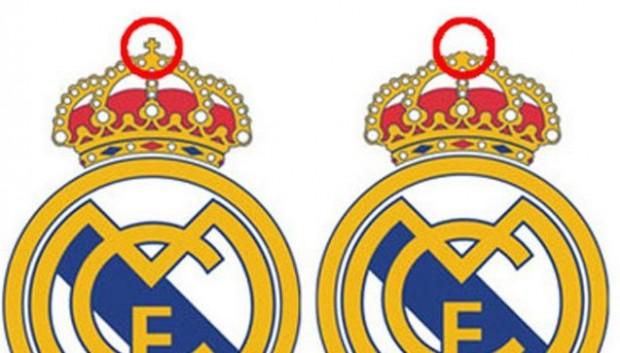 Logo do Real Madrid com e sem cruz.