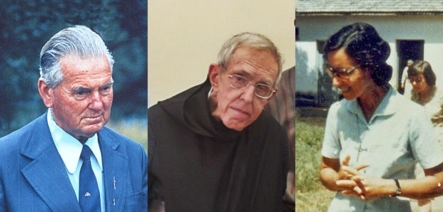 O diácono Pozzobon, dom Estêvão e irmã Cleusa, alguns dos brasileiros que podem ser beatificados.