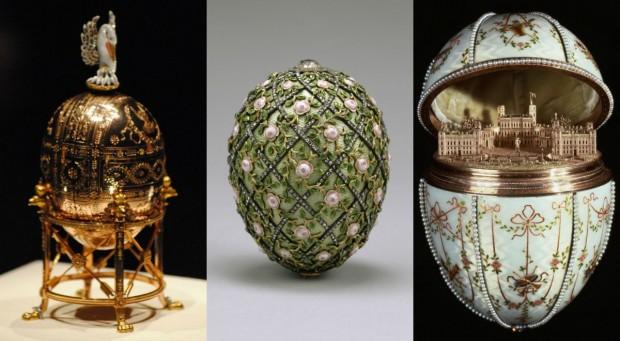 """Três dos famosos ovos Fabergé, o """"Pelicano"""" (1898), o """"Treliça de rosas"""" (1907) e o """"Palácio Gatchina"""" (1901). Fotos: Commons"""
