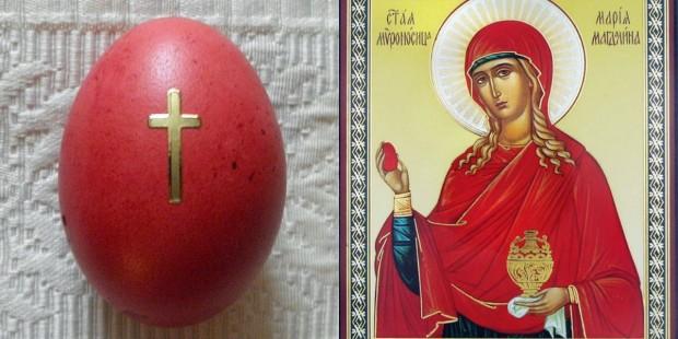 Ovo pintado de vermelho e ornado com cruz, como é típico no Oriente, e ícone ortodoxo de Santa Maria Madalena, com o ovo na mão. Fotos: Commons e HolyTrinityStore.com