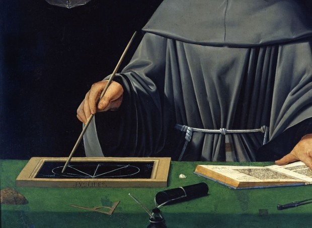 Pintura de Luca Pacioli, frade e cientista, considerado o pai da Contabilidade (pintura atribuída a Jacopo de' Barbari).