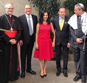 Doria, ao lado do rabino Michel Schlesinger, da primeira dama de São Paulo Lu Alckmin, do governador Geraldo Alckmin e do cardeal arcebispo dom Odilo Scherer, em evento ocorrido na Congregação Israelita Paulista, em 29 de janiero.