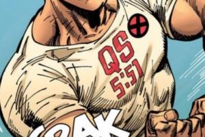 Desenho do personagem Colossus usando camiseta com versículo do Alcorão.