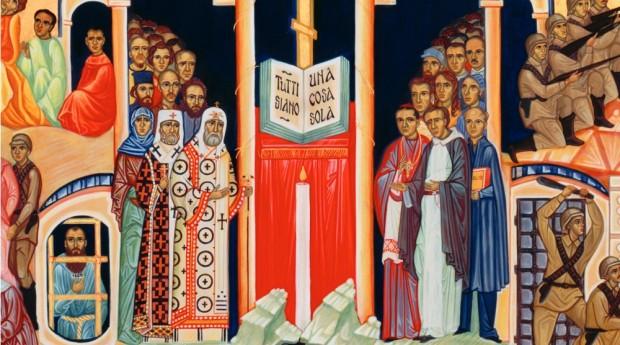 """""""Que sejam um"""", oração de Jesus no Evangelho de João, no centro do ícone dos novos mártires."""