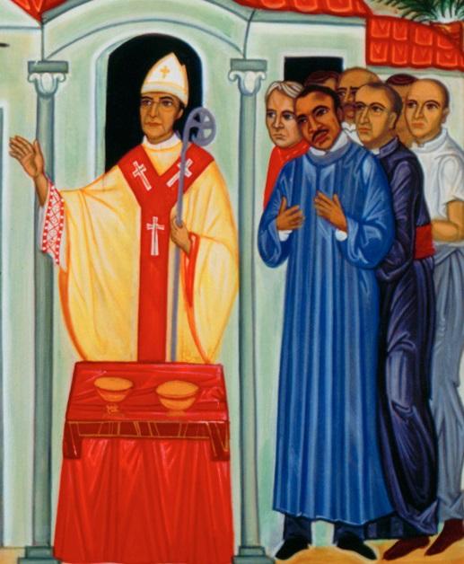 O ícone retrata Oscar Romero ao lado de Martin Luther King Jr.