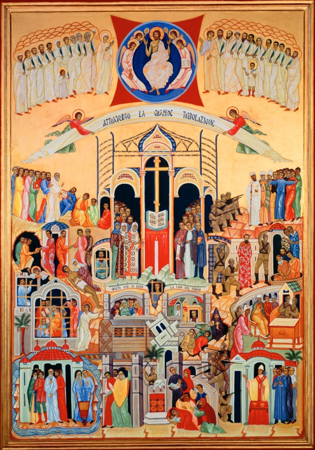 O ícone retrata a realidade do martírio cristão no século XX.
