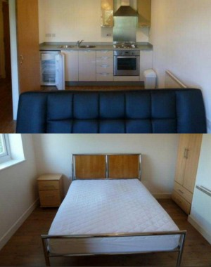 Exemplo de apartamento na faixa de preço mais barata para se alugar em Machester.