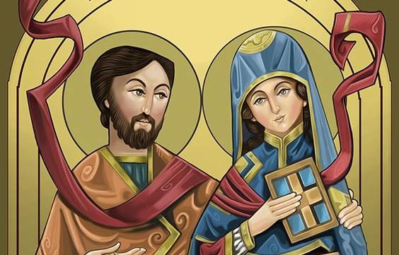 Ilustração do artista cristão copta egípcio Mina Anton, retratando os santos Áquila e Priscila.