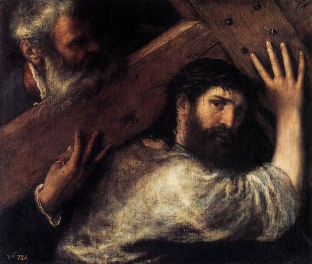 """""""Cristo carregando a cruz"""", por Ticiano. O cireneu aparece ajudando Jesus. Imagem: Commons."""