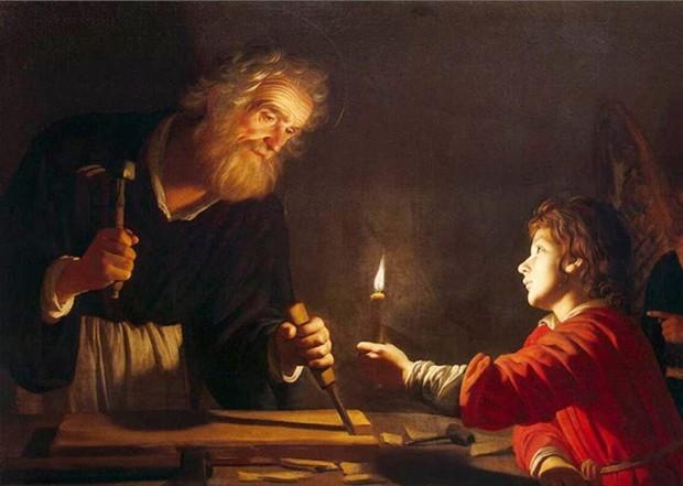 Infância de Cristo, pintura de Gerard van Honthorst.