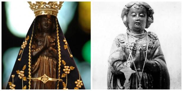 Á direita, a imagem após a restauração com os ornamentos atuais; à esquerda, a aparência original, sem manto e antes de ser quebrada.