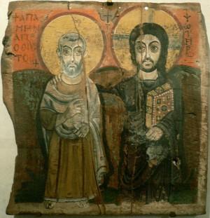 Cristo e São Menas, ícone do século VI representativo da arte copta. Commons
