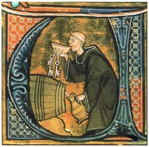 Em iluminura do século XIII, monge prova vinho produzido no mosteiro. Foto: Commons