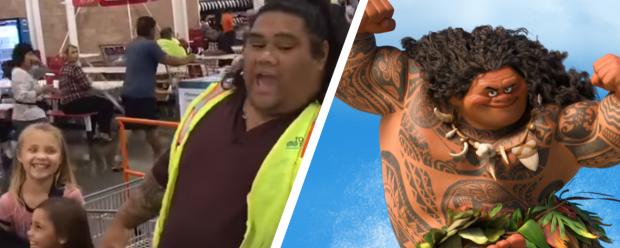 """Meninas se divertem com funcionário de supermercado que parece Maui, de """"Moana"""""""