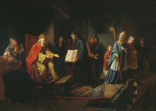 Nessa pintura de 1822, Ivan Eggink retratou um representante da Igreja do Ocidente contrariado enquanto o príncipe Vladimir elege o cristianismo oriental como religião oficial da Rus' de Kiev. Imagem: Wikimedia Commons.