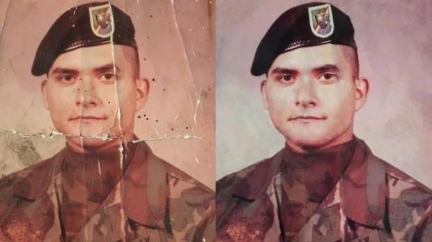 Graças às redes sociais, foto danificada de militar é restaurada e filha faz surpresa ao pai