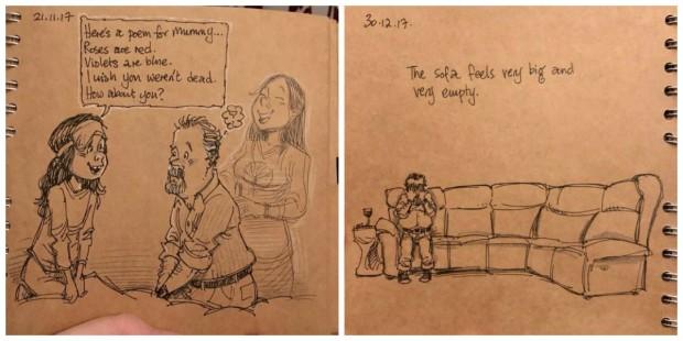 Sua esposa morreu e ao desenhar seus sentimentos ele encontrou um meio de superar a dor