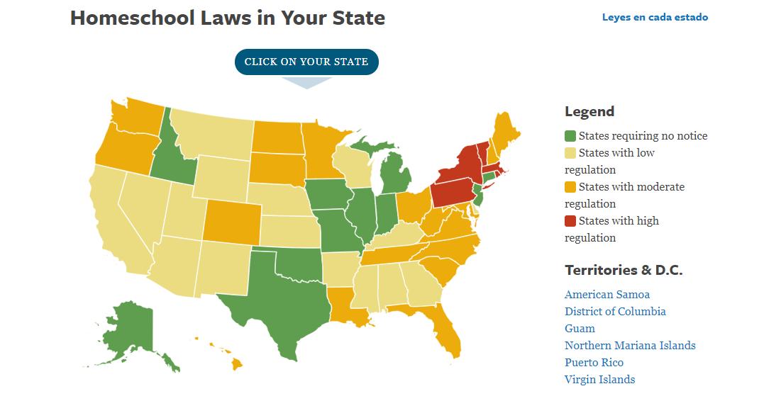 Mapa EUA homeschooling 2