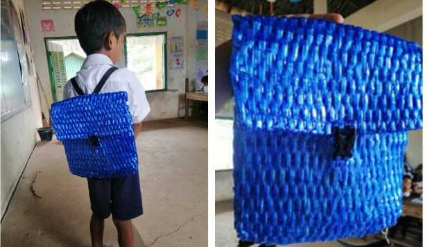 Sem condições de comprar mochila, pai faz uma nova para o filho